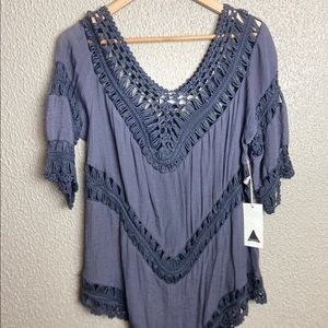 NWT!!! Cotton Tunic with crocheted inserts size XL